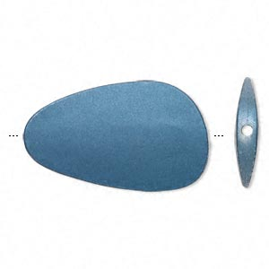 bead, acrylic with rubberized coating, blue, 53x32mm freeform. sold per pkg of 10.