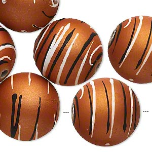 bead, acrylic with rubberized coating, burnt orange / black / white, 20mm round with stripes. sold per pkg of 10.