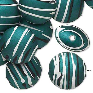 bead, acrylic with rubberized coating, green / black / white, 18mm puffed flat round with stripes. sold per pkg of 30.