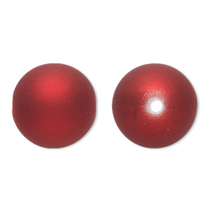 bead, acrylic with rubberized coating, red, 18mm round. sold per pkg of 30.