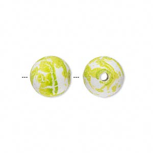 bead, acrylic with rubberized coating, spotted peridot green and white, 12mm round. sold per pkg of 100.