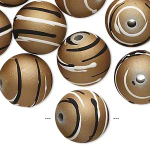 bead, acrylic with rubberized coating, tan / black / white, 16mm round with stripes. sold per pkg of 20.