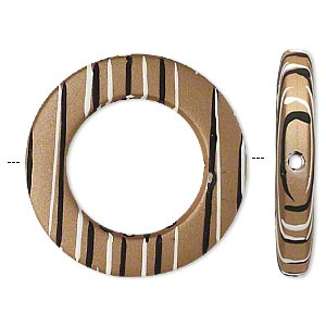 bead, acrylic with rubberized coating, tan / black / white, 33mm round donut with stripes and 20mm center hole. sold per pkg of 20.