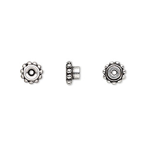 bead adaptor, tierracast beadaligners™, antique silver-plated pewter (tin-based alloy), 7x4mm beaded rondelle with 4mm peg. sold per pkg of 4.