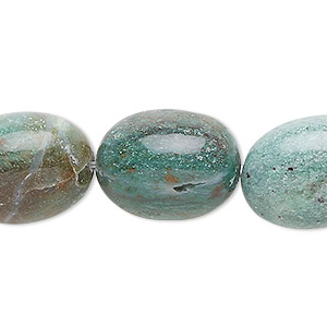 bead, african jade (natural), large tumbled nugget, mohs hardness 7. sold per 16-inch strand.