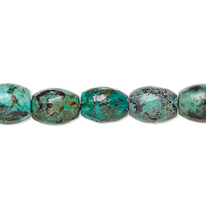 bead, african turquoise (dyed), 10x8mm oval, c grade, mohs hardness 6-1/2 to 7. sold per 16-inch strand.