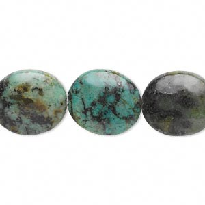 bead, african turquoise (dyed), 16x14mm flat oval, c grade, mohs hardness 6-1/2 to 7. sold per 16-inch strand.