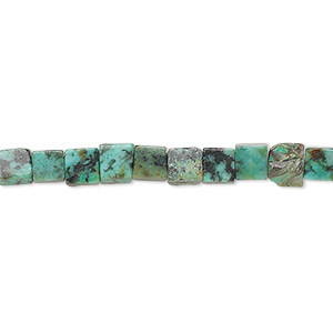 bead, african turquoise (dyed), 4x4mm cube, c grade, mohs hardness 6-1/2 to 7. sold per 16-inch strand.