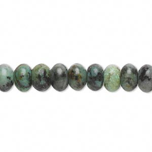 bead, african turquoise (dyed), 8x5mm rondelle, c grade, mohs hardness 6-1/2 to 7. sold per 16-inch strand.