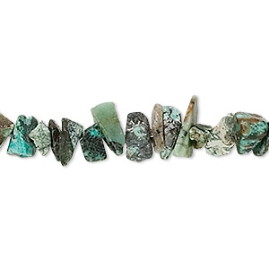 bead, african turquoise (dyed), medium hand-cut chip, mohs hardness 6-1/2 to 7. sold per 36-inch strand.