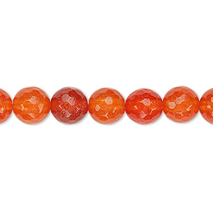 bead, agate (dyed / heated), red-orange, 8mm faceted round, b grade, mohs hardness 6-1/2 to 7. sold per 15-inch strand.