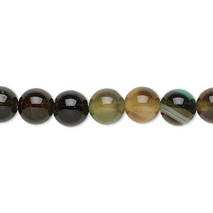 bead, agate (dyed), black and green, 7-8mm round, c grade, mohs hardness 6-1/2 to 7. sold per 14-inch strand.