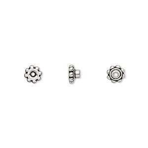 bead aligner, tierracast beadaligners™, antique silver-plated pewter (tin-based alloy), 5x3mm beaded rondelle with 2.5mm peg. sold per pkg of 4.