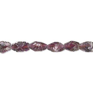 bead, almandite garnet (natural), 5x4mm-9x6mm hand-cut carved puffed oval, c grade, mohs hardness 7 to 7-1/2. sold per 14-inch strand.