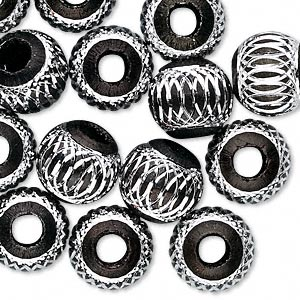 bead, aluminum, black, 12mm diamond-cut round with 4.5-5.5mm hole. sold per pkg of 20.