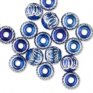 bead, aluminum, blue, 8mm diamond-cut round with 2.5-3.5mm hole. sold per pkg of 20.
