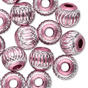 bead, aluminum, pink, 12mm diamond-cut round with 4.5-5.5mm hole. sold per pkg of 20.