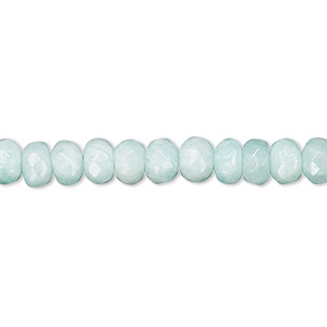 bead, amazonite (natural), 6x4mm faceted rondelle, a- grade, mohs hardness 6 to 6-1/2. sold per 16-inch strand.