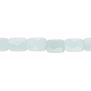 bead, amazonite (natural), 9x6mm faceted rectangle, b grade, mohs hardness 6 to 6-1/2. sold per 16-inch strand.
