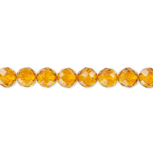 bead, amber and resin (assembled), 6mm faceted round, mohs hardness 2 to 2-1/2. sold per 16-inch strand.