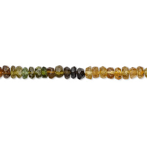 bead, amber-green tourmaline (natural), 3x1mm-4x2mm hand-cut faceted rondelle, b grade, mohs hardness 7 to 7-1/2. sold per 12-inch strand.