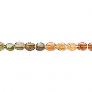 bead, amber-green tourmaline (natural), 4x4mm-5x4mm hand-cut flat oval, c grade, mohs hardness 7. sold per 14-inch strand.