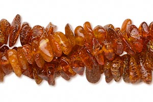 bead, amber (heated), medium to dark, small to medium chip, d grade, mohs hardness 2 to 2-1/2. sold per pkg of (3) 16-inch strands.