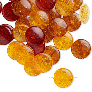 bead, amber (imitation), golden amber / deep amber / fiery red, 20mm puffed flat round. sold per pkg of 30.