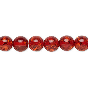 bead, amber (imitation), medium to dark red, 8mm round. sold per 16-inch strand.