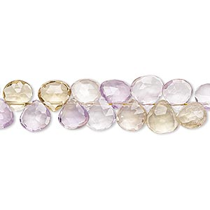 bead, amethyst / ametrine / citrine (natural / heated), 6x6mm-8x8mm hand-cut top-drilled faceted teardrop, b grade, mohs hardness 7. sold per 4-inch strand.