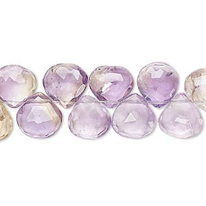 bead, amethyst / ametrine / citrine (natural / heated), 9x9mm-10x10mm hand-cut top-drilled faceted teardrop, b- grade, mohs hardness 7. sold per 4-inch strand.
