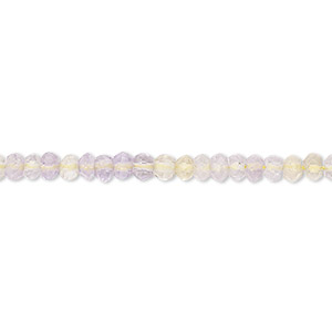 bead, amethyst / citrine / ametrine, (natural / heated), light, 3x2mm-4x3mm hand-cut faceted rondelle, b- grade, mohs hardness 7. sold per 12-inch strand.