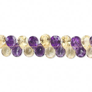 bead, amethyst and citrine (natural/heated), 7x4mm hand-cut top-drilled faceted teardrop, b grade, mohs hardness 7. sold per 8-inch strand, approximately 75 beads.