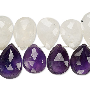 bead, amethyst and rainbow moonstone (natural / dyed), 14x12mm-23x15mm hand-cut top-drilled faceted puffed teardrop, c grade, mohs hardness 6 to 7. sold per 4-inch strand.
