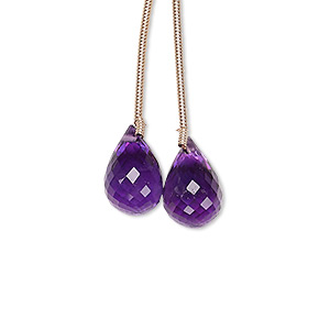 bead, amethyst (natural), 12x8mm-13x9mm hand-cut faceted teardrop, b grade, mohs hardness 7. sold per pkg of 2 beads.