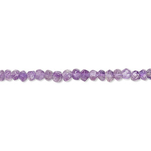 bead, amethyst (natural), 3x2mm-4x3mm hand-cut faceted rondelle, c grade, mohs hardness 7. sold per 14-inch strand.