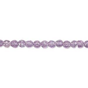 bead, amethyst (natural), 4-5mm hand-cut faceted round, c grade, mohs hardness 7. sold per 13-inch strand.