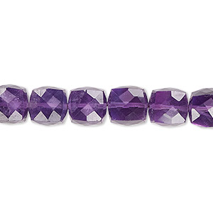 bead, amethyst (natural), dark, 8x8mm hand-cut faceted cube, b grade, mohs hardness 7. sold per pkg of 10.
