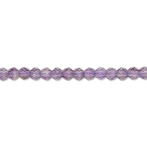 bead, amethyst (natural), light, 3mm-4x3mm hand-cut faceted rondelle, b grade, mohs hardness 7. sold per 13-inch strand.