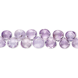 bead, amethyst (natural), light, 8x7mm-10x10mm hand-cut top-drilled faceted puffed teardrop, b grade, mohs hardness 7. sold per 8-inch strand.