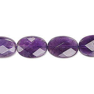 bead, amethyst (natural), medium to dark, 14x10mm faceted flat oval, b grade, mohs hardness 7. sold per 16-inch strand.