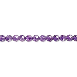 bead, amethyst (natural), medium to dark, 4mm faceted round, b grade, mohs hardness 7. sold per 16-inch strand.