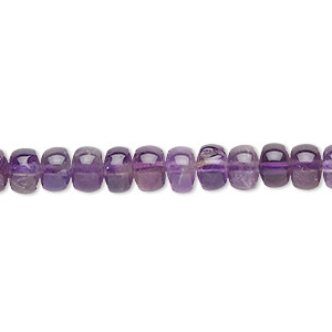 bead, amethyst (natural), medium to dark, 5x3mm-6x4mm rondelle, b grade, mohs hardness 7. sold per 16-inch strand.