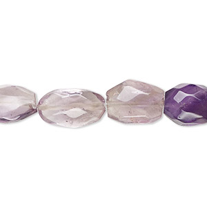 bead, amethyst (natural), shaded, 10x9mm-15x10mm hand-cut faceted puffed oval, c grade, mohs hardness 7. sold per 8-inch strand.