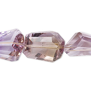 bead, ametrine / amethyst / citrine (natural / heated), small to large hand-cut faceted nugget with 0.4-1.4mm hole, b+ grade, mohs hardness 7. sold per 8-inch strand, approximately 9-10 beads.
