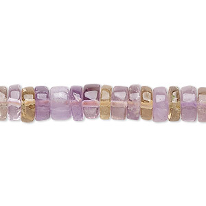 bead, ametrine / citrine / amethyst (natural / heated), 9x2mm-10x5mm hand-cut heishi, b- grade, mohs hardness 7. sold per 16-inch strand.