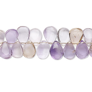 bead, ametrine (natural / heated), 8x5mm-11x6mm hand-cut top-drilled puffed teardrop, b- grade, mohs hardness 7. sold per 7-inch strand.