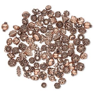 bead and bead cap, antiqued copper, 12x6mm-17x17mm assorted sizes in 50 styles, 2 of each style. sold per pkg of 100.