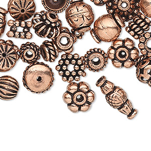 bead and bead cap, antiqued copper, 4x1mm-11x5mm assorted sizes in 50 styles, 2 of each style. sold per pkg of 100.
