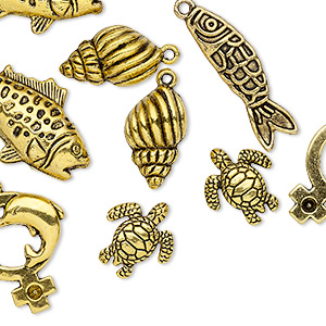 bead and charm, antique gold-finished pewter (zinc-based alloy), 18x16mm-34x20mm assorted sea creature. sold per pkg of 10.